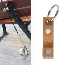 1PC Wooden Mini Fly Fishing Rod Rack Holder Magnetic Fishing Rod Guard Hanger Rod Transport System Attaches To Car