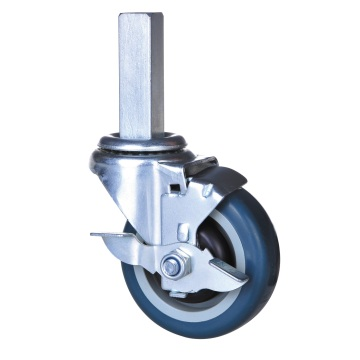 4 inch square stem caster with pu wheel