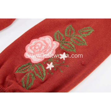 Women's Knitted Floral Embroidery Puff Sleeve Pullover