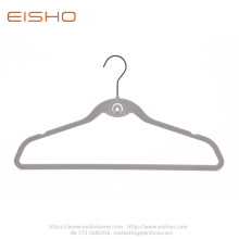 Grey Anti-slip Velvet Coat Hanger With Tie Hook