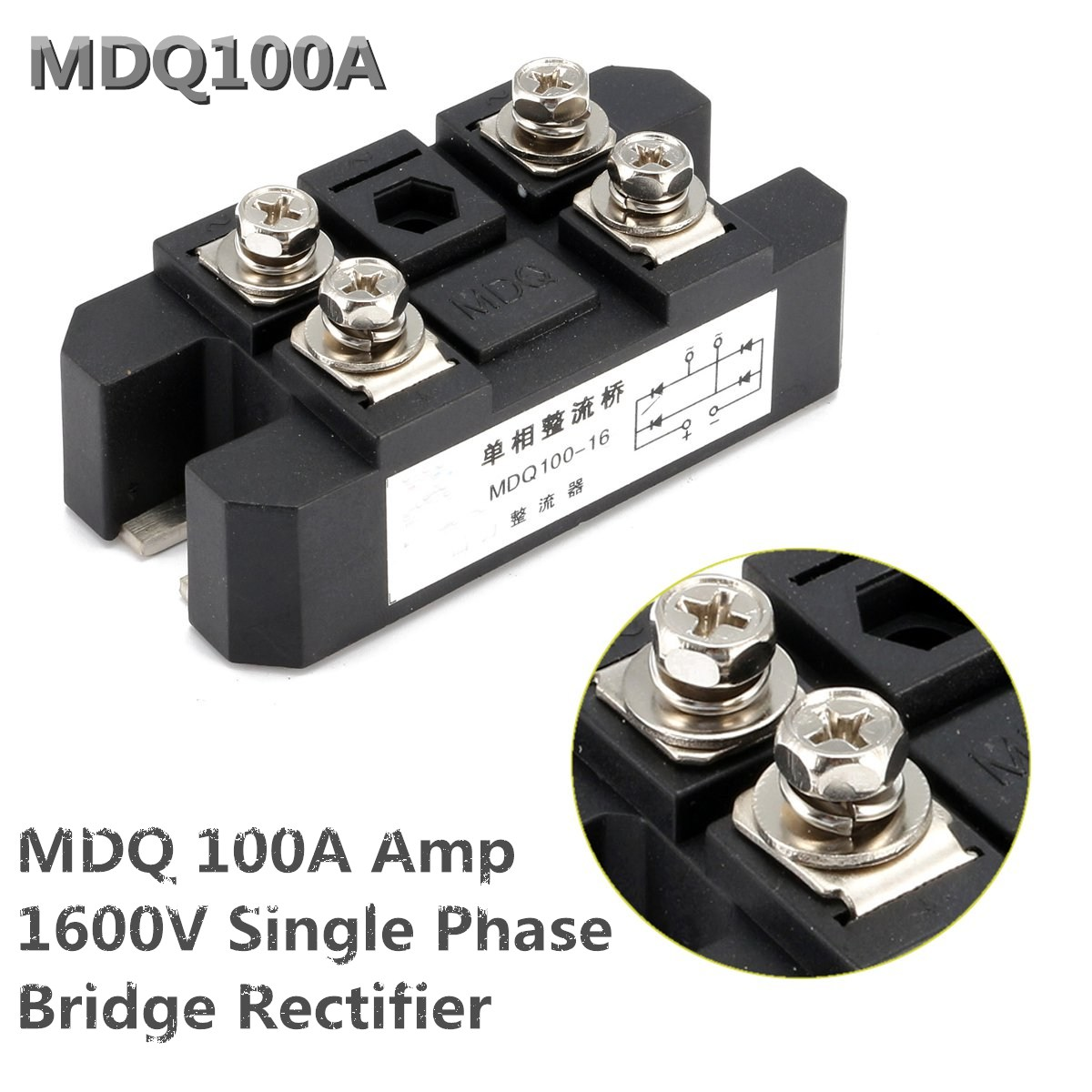 1PC MDQ 100A Amp 1600V Volt Silicon Single Phase Diode Metal Case Bridge Rectifier Module Electronic Components & Supplies