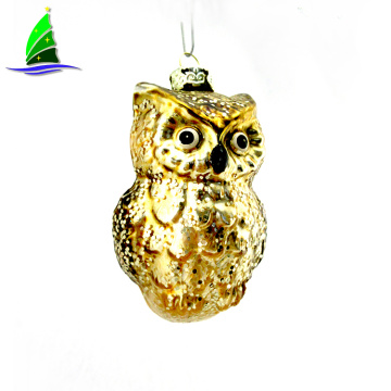 Golden Owl Glass Ornament Xmas Christmas