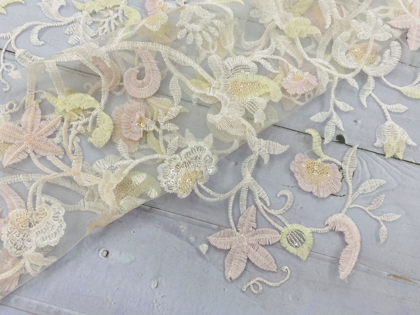 Pleochroic Flower Embroidery Fabric