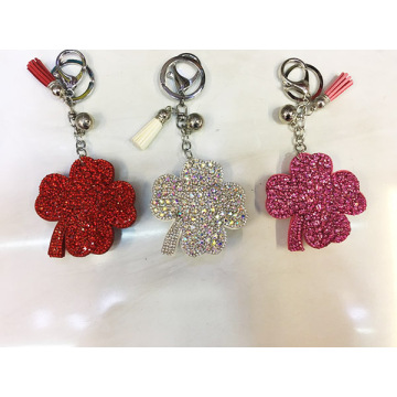 Four - Leaf Clover Shape Crystal Key Chain With Ball