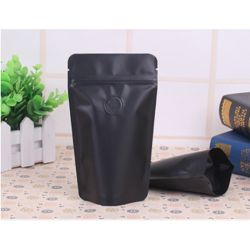 100g-150g black coffee bag with zipper and valve