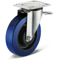 Elastic Rubber Flat Bottom Movable Rear Brake Casters