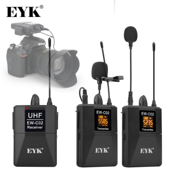 EYK EW-C02 30 Channel UHF Wireless Dual Lavalier Microphone System 60m Range for DSLR Camera Phone Interview Recording Lapel Mic