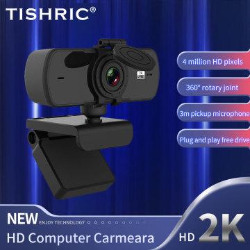 TISHRIC 2K HD Webcam Autofocus Web Camera With Microphone Usb Webcam Full Hd 1080P Web Cam Camara PC Web Camera For Computer