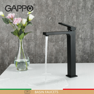 GAPPO Black Tall Basin Faucet Slim Bathroom Washbasin Water Mixer Tap Chrome Hot Cold Water Bathroom Sink Faucet Tap G1017-62