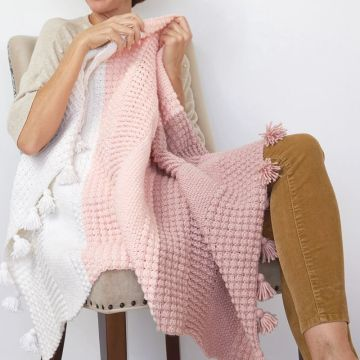 100% Cotton Pink White Crochet Square Blanket