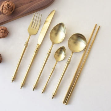 Stainless Royal Vintage Flatware Matte Gold Cutlery Set