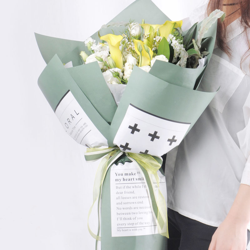Luxury newsprint flower wrapping paper