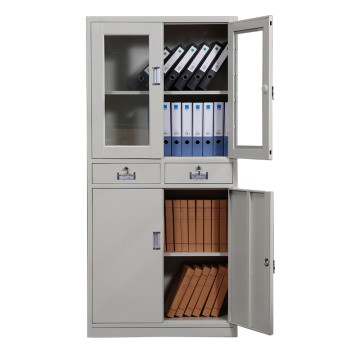 Glass swing door office file short storage cupboard