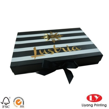 Stripe Collapsible Box with Ribbon Lid Closure