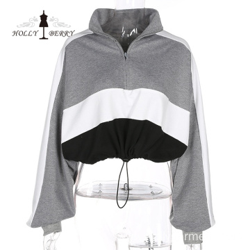 Short Turn-down Collar Cotton Full Midriff-baring Women Hooded Sweatshirt Zipper