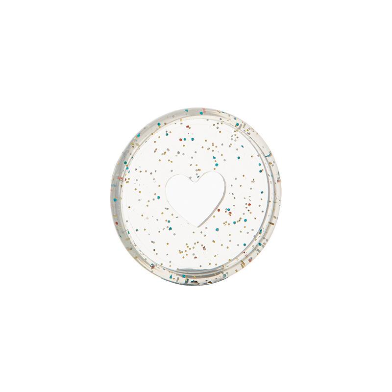 50PCS transparent love notebook mushroom hole loose-leaf button 360 degree flip disc buckle
