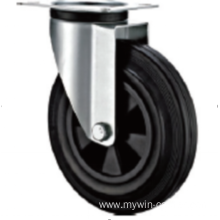125 mm  European industrial rubber  casters without brakes