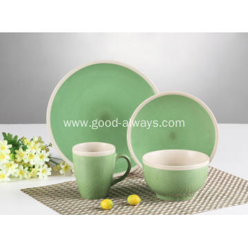 16 pieces dinnerware set,Green Cream