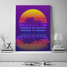 Futuresynth Outrun Retrowave Synthwave Minimal Moon and Palm Vintage Poster Canvas Painting Wall Art Decor Study Home Decoration