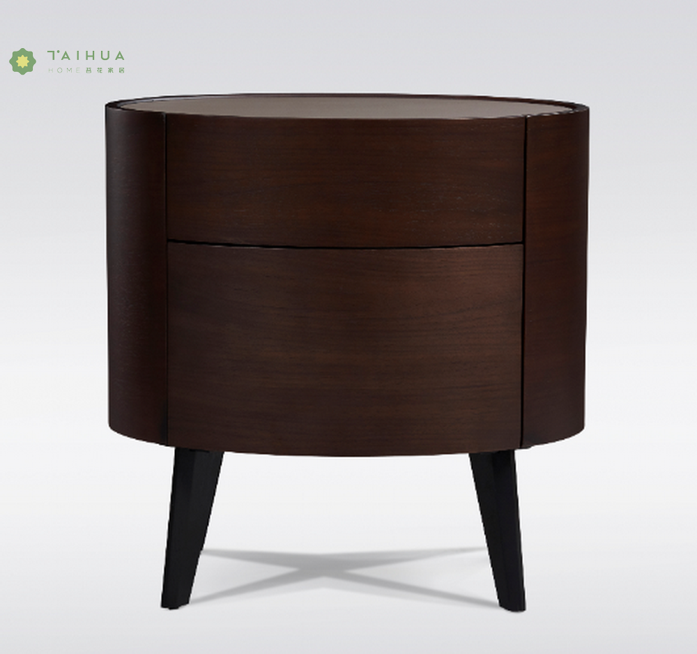Round Solid Wood Night Stand
