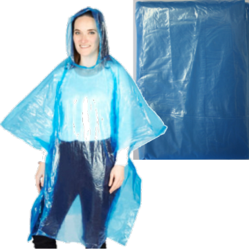 Blue Color Disposable PE Rain oncho
