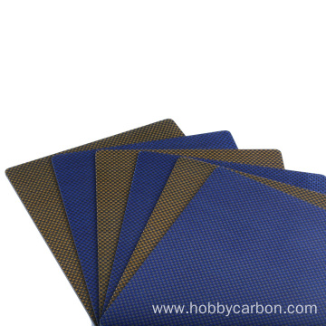 High strength colored full carbon fiber/kevlar sheet