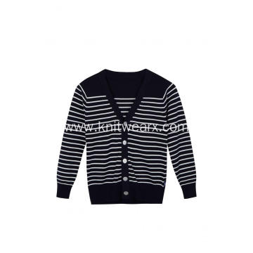 Boy's Knitted Buttoned White Black Stripe School Cardigan