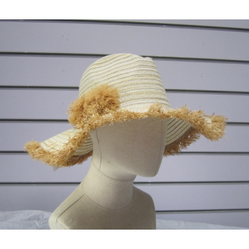 Fine Paper Braid Raffia Ball Trimmed Sun Hats