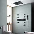 Ceiling Embedded Bathroom Shower Black LED Shower Faucet