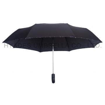Black Mens Folding Umbrella Windproof Hook Handle