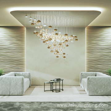 Glass clear crystal orb led chandelier pendant light