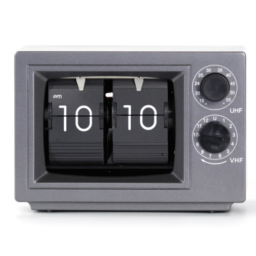 Small Television Gray Flip Clock with Light