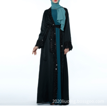 2019 new Muslim robes simulation silk sequins cardigan with atmospheric women's outer