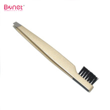 Slanted end Stainless steel eyebrow brush tweezers