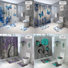 Blue Butterfly Flowers Fabric Shower Curtain Bathroom Curtains and 3 Piece Carpet Toilet Cover Bath Mat Pad Set Home Decor