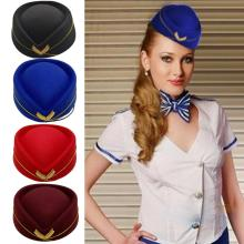 2019 Hot Sale Wool Felt Pillbox Air Hostesses Beret Hat Base Cap Airline Stewardess Sexy Formal Uniform Hat Caps Accessory