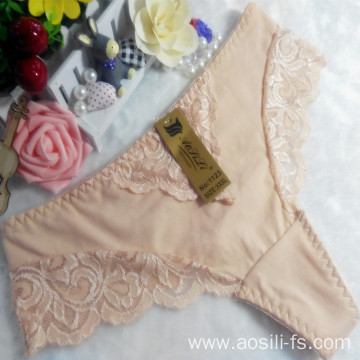OEM wholesale China apricot sexy thong comfortable lace elastic fancy underwear 1123