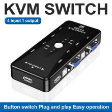 OULLX 4 Port KVM Switch USB 2.0 VGA Splitter Printer Mouse Keyboard Pendrive Share Switcher 4 Input 1 Output Switch Box Adapter