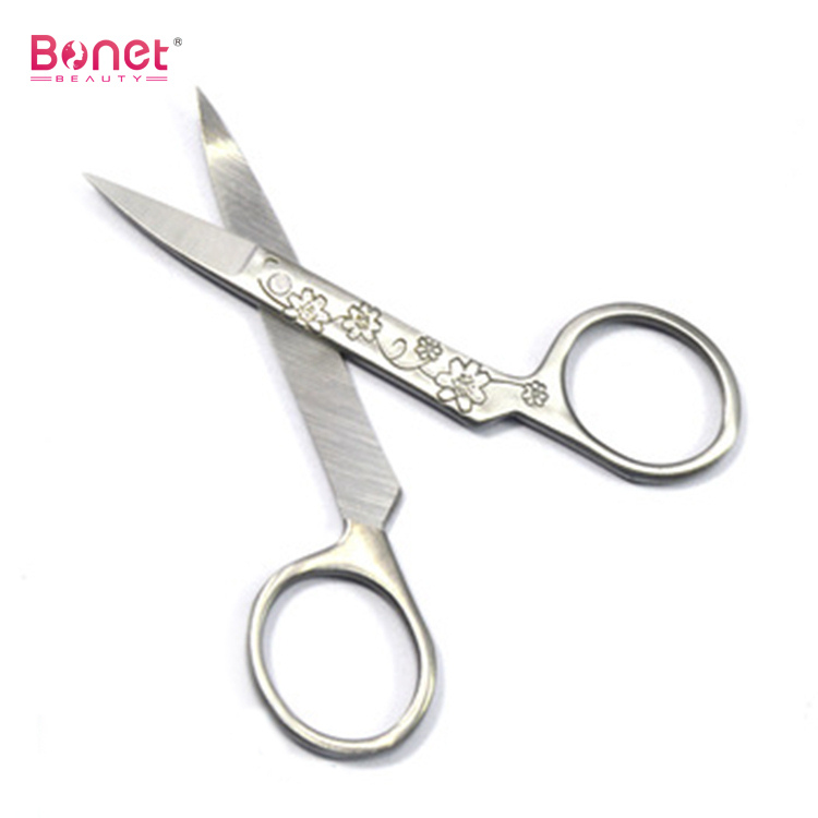 Stainless Steel Flower Engraved Manicure Scissors
