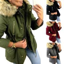 2020 Womens Coats Winter Women Faux Fur Hooded Coat Thick Plush Warm Drawstring Long Sleeve Oversized Zip Pockets Female Jacket