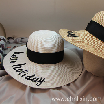 Embroidery custom letter women wholesale straw hat