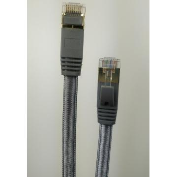 Shielded Cat7 Flat Nylon Braided Ethernet Cable