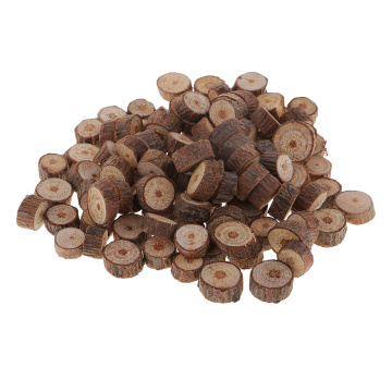 100pcs 5-10mm Natural Pine Wood Slices Logs Discs for DIY Crafts Wood Tree Rustic Wedding Decoration Wooden Pile Ornaments