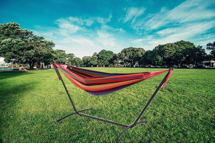 Steel space-saving  hammock with canopy