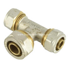 Equal tee of brass compression fitting