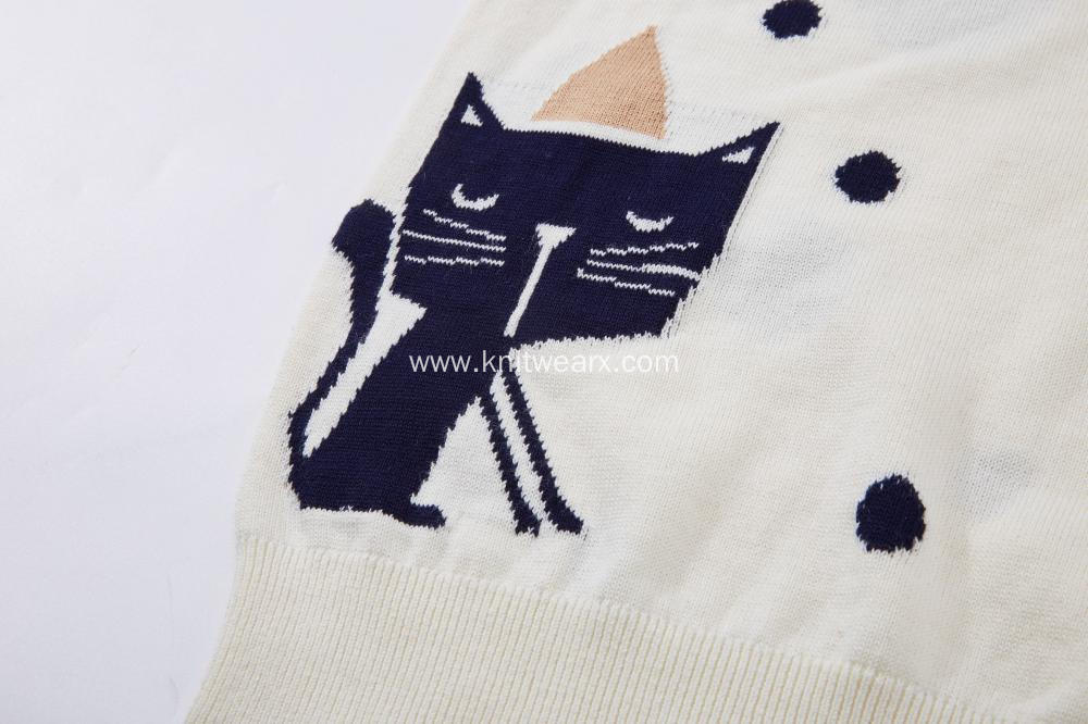 Girl's Knitted Angry Cat and Dots Jacquard Pullover