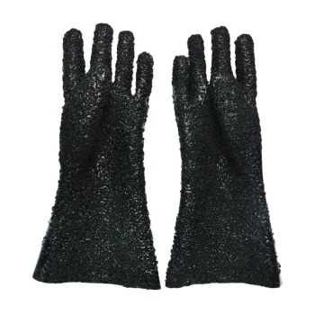 Black PVC All particles Flannelette lined gloves 40cm
