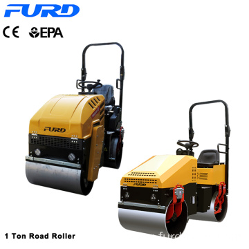 Driving 1 ton Double Drum Vibratory Road Roller Machine