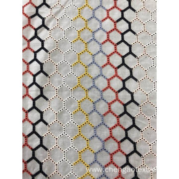 Six Color Hexagon Cotton Embroider Fabric