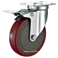 5inch Swivel Red PU With Cover Castors With Top Brake
